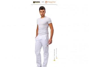 master cheff pantaloni bianchi con logo