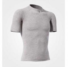 Maglia termica manica corta giro collo grigia unisex