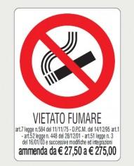 CARTELLO VIETATO FUMARE CON DESCRIZIONE AMMENDA 20X30 17148